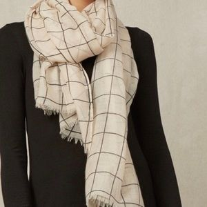 Rachel Pally Accessories - Rachel Pally Cream Summer Grid Scarf/Wrap Plaid